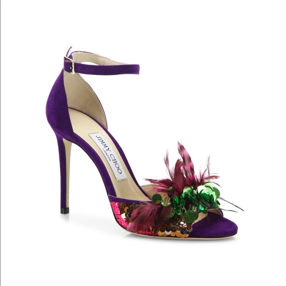 a57a90d574b Jimmy Choo Annie Sequin   Feather-Embellished Heel